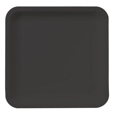 Black Velvet (Black) Square Dinner Plates