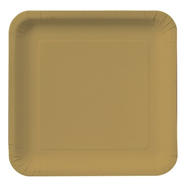 Glittering Gold (Gold) Square Dinner Plates