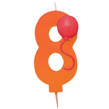 "Number ""8"" Pick Candle with Balloon"