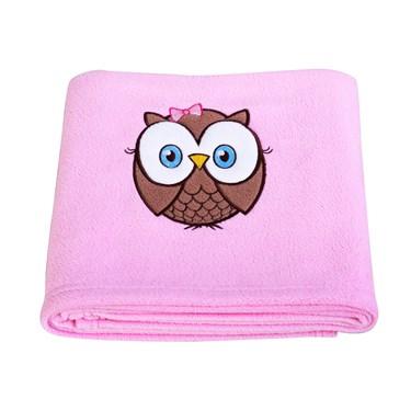 Look Whoo's 1 Pink Applique Fleece Blanket