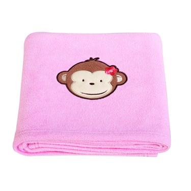 Pink Mod Monkey Applique Fleece Blanket