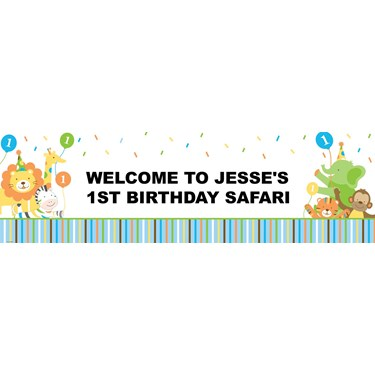 Sweet Safari Blue 1st Birthday Personalized Banner