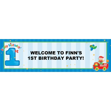 Boy's Playtime 1st Birthday Personalized Banner