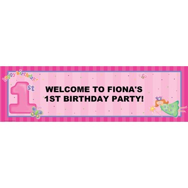 Fairy Princess 1st Birthday Personalized Banner