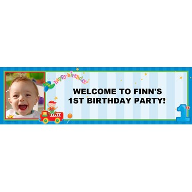 Boy's Playtime 1st Birthday Personalized Photo Banner