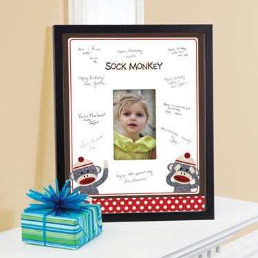 Sock Monkey Red Framed Signature Matte