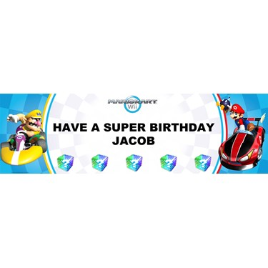 Mario Kart Wii - Mario Personalized Birthday Banner