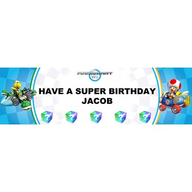 Mario Kart Wii - Toad Personalized Birthday Banner