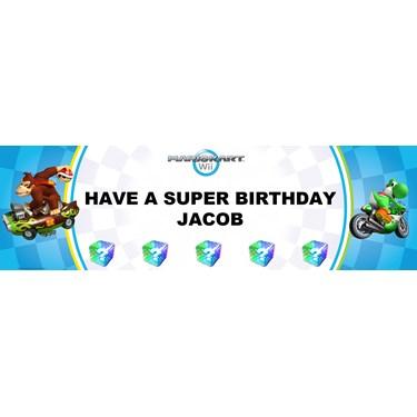 Mario Kart Wii - Yoshi Personalized Birthday Banner