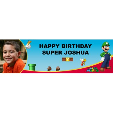 Super Mario Bros. - Luigi Personalized Photo Vinyl Banner