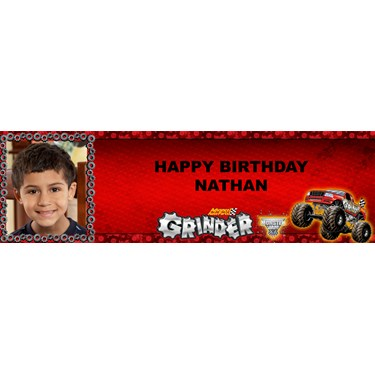 Monster Jam - Grinder Personalized Photo Banner