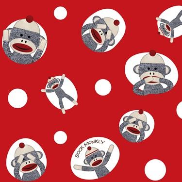Sock Monkey Red Jumbo Gift Wrap