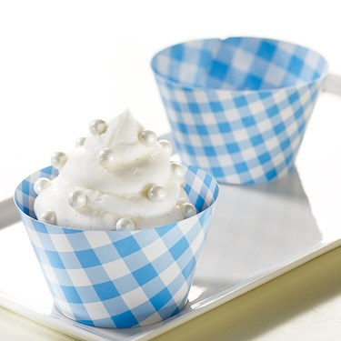 Light Blue Gingham Reversible Cupcake Wrappers