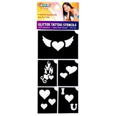 Hearts Glitter Tattoo Stencil Set