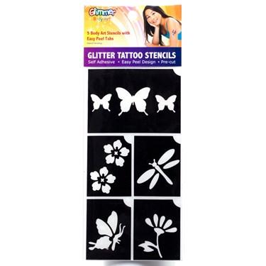 Flower Garden Glitter Tattoo Stencil Set