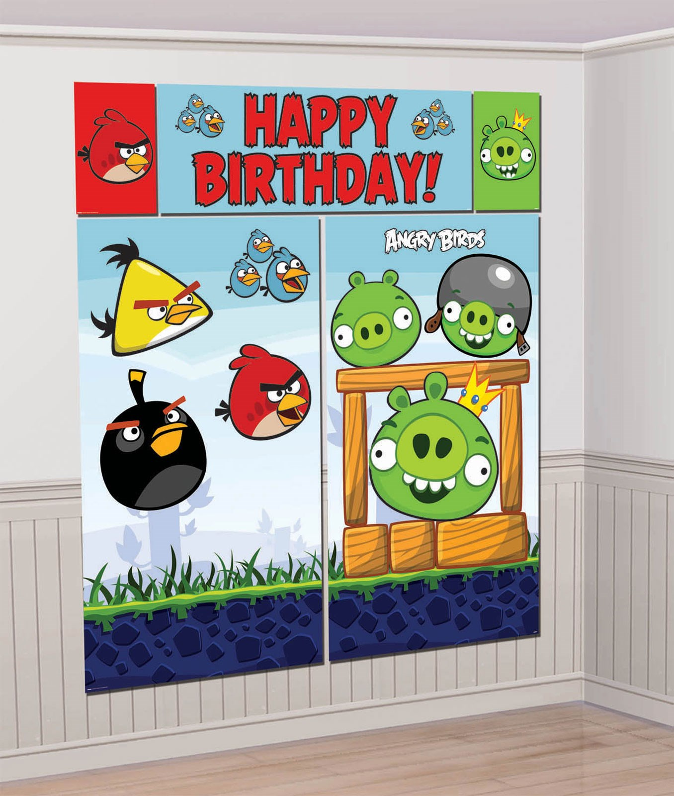 Angry birds scene setter wall decorations for Angry bird decoration ideas