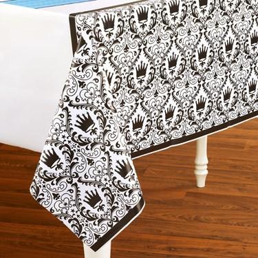 Elegant Prince Damask Plastic Tablecover