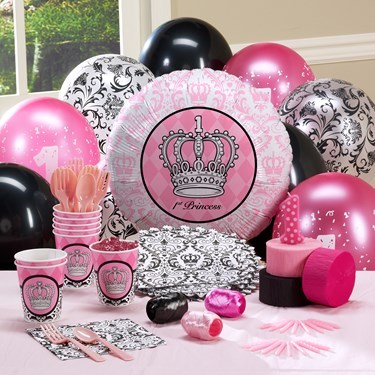 Elegant Princess Damask 1st Birthday Personalized Party Theme