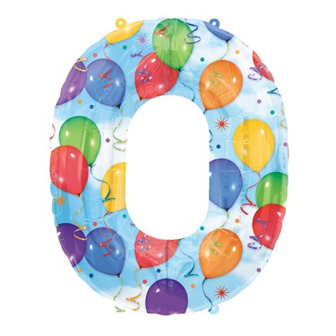 """Number """"0"""" Shaped Foil Balloon"""