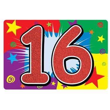 "Glittered ""16"" Sign"
