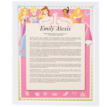 Disney 1st Birthday Princess Keepsake Scroll