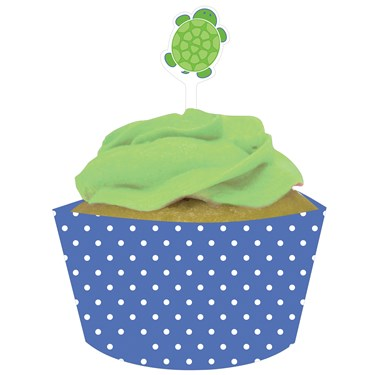 Mr. Turtle Cupcake Wrappers with Picks