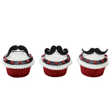 Moustache Bash Cupcake Picks