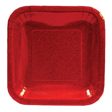 Red Glitz Square Prismatic Dessert Plates