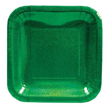 Green Glitz Square Prismatic Dessert Plates