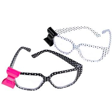 Polka Dot Nerd Glasses with Bow