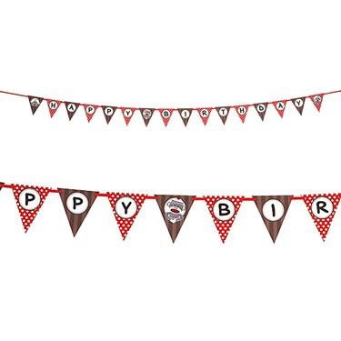 Sock Monkey Red Ribbon Flag Banner