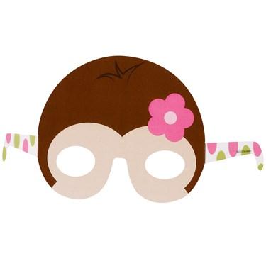 Pink Mod Monkey Paper Masks