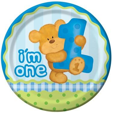 Bear's 1st Birthday Boy Dinner Plates