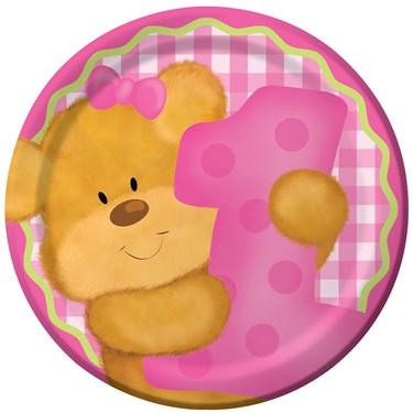 Bear's 1st Birthday Girl Dessert Plates