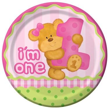 Bear's 1st Birthday Girl Dinner Plates