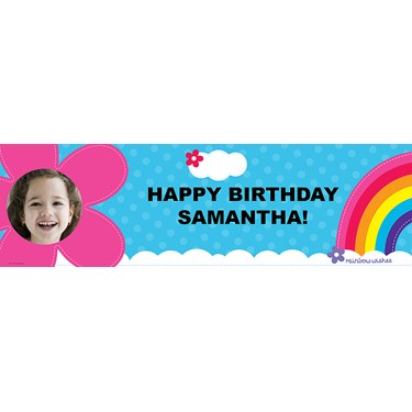 Rainbow Wishes Personalized Photo Vinyl Banner