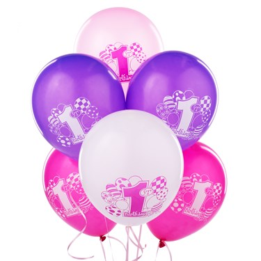 My 1st Birthday Pink Printed Latex Balloons
