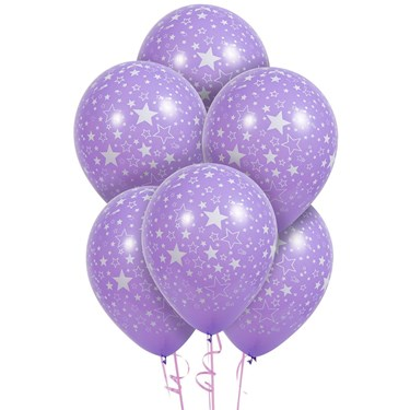 Lavender with Stars Matte Balloons