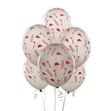 Silver with Red Firefighter Symbols Balloons