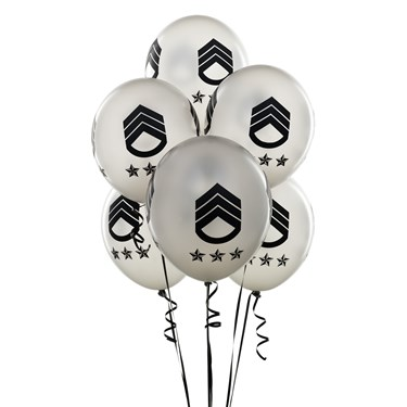 """Silver with Black Army Symbol 11"""" Balloons"""