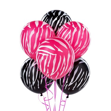 Black & Pink Zebra Print Latex Balloons