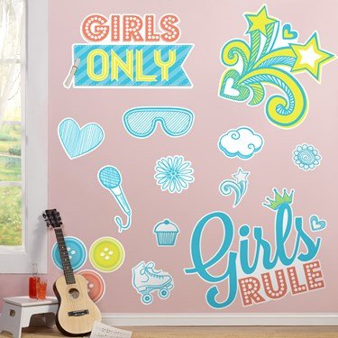 Girls Only Party Giant Wall Decals