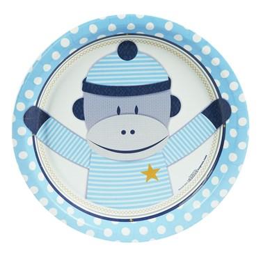 Sock Monkey Blue Dinner Plates (8)