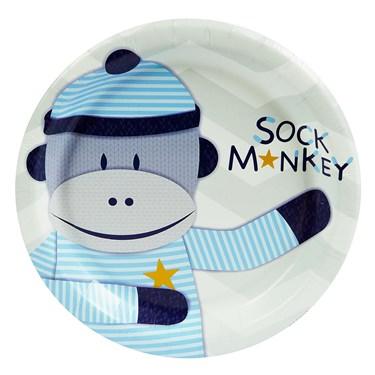 Sock Monkey Blue Dessert Plates (8)