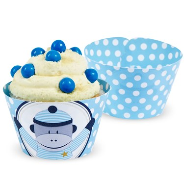 Sock Monkey Blue Reversible Cupcake Wrappers (12)