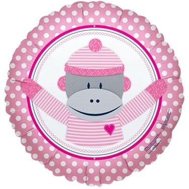 Sock Monkey Pink Foil Balloon