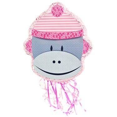Sock Monkey Pink Shaped Pull-String Pinata