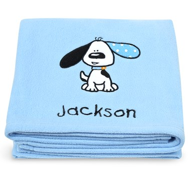 Playful Puppy Blue Applique Fleece Blanket - Embroidered