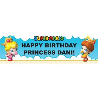 Super Mario Bros. Babies Girl Personalized Vinyl Banner