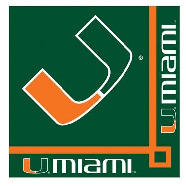 Miami Hurricanes Beverage Napkins